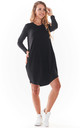 Loose Mini Dress with Long Sleeve in Black by AWAMA