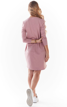 Loose Mini Dress with Long Sleeve in Pink by AWAMA