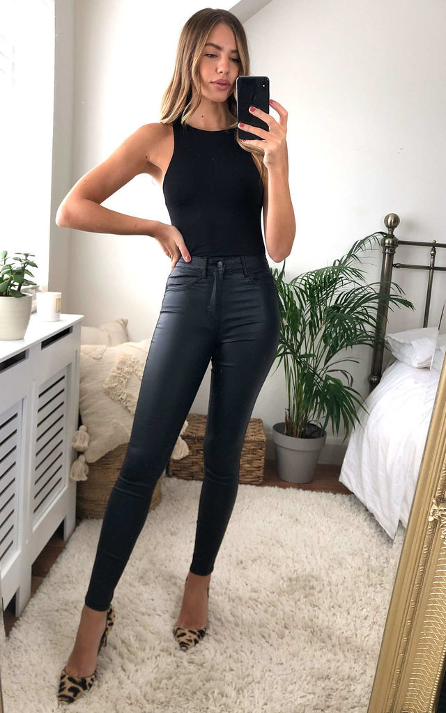 Coated Trousers in Skinny Fit - Black by JDY