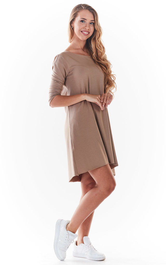 Mini Skater Dress in Beige by AWAMA