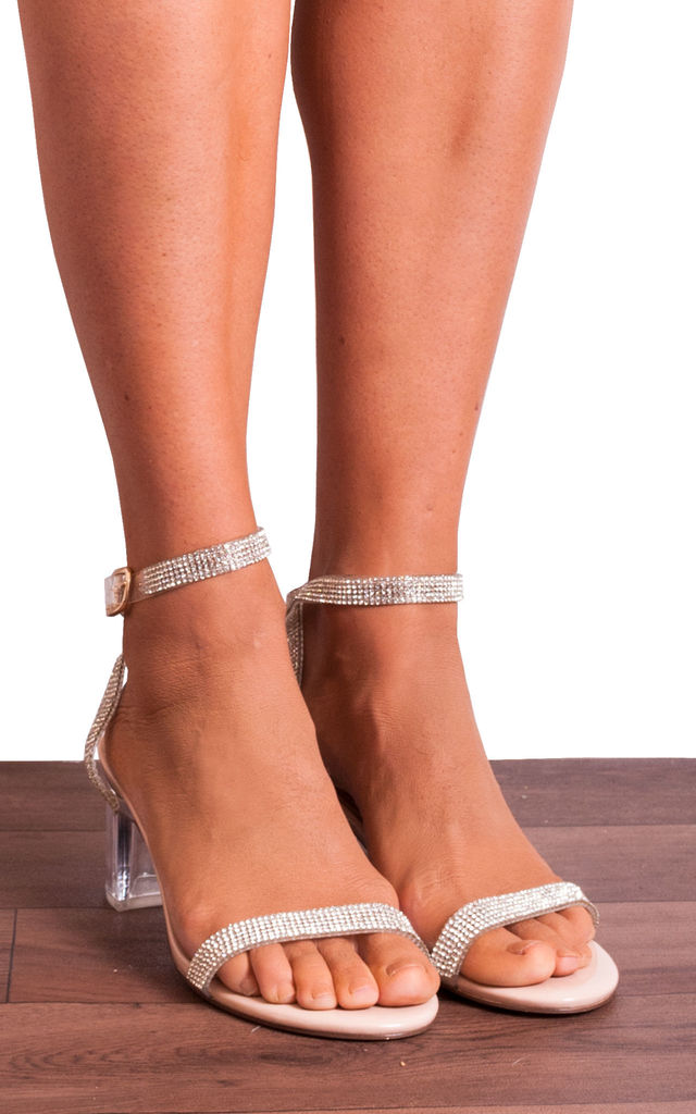 Clear Diamante Nude Perspex Strappy Sandals with Low Block Heels by Shoe Closet