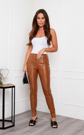 Alexis Side Split PU Trouser Tan by Girl In Mind