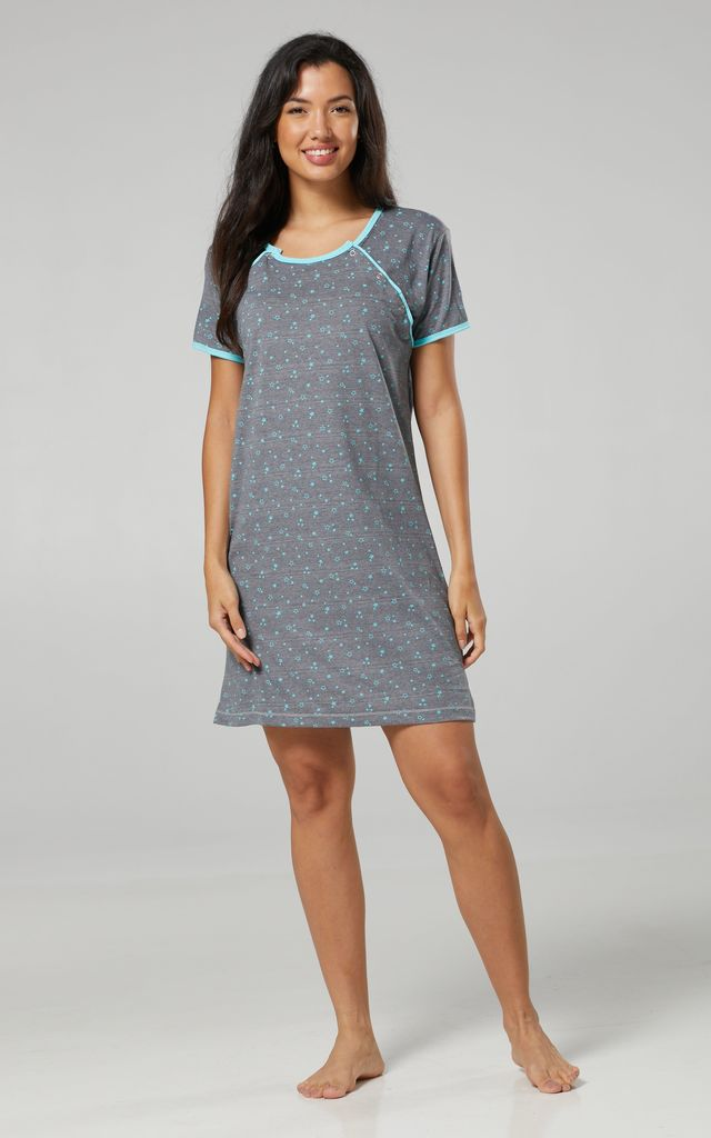 Women's Maternity Nursing Nightie Nightshirt Skin to Skin Buttons Blue by Chelsea Clark