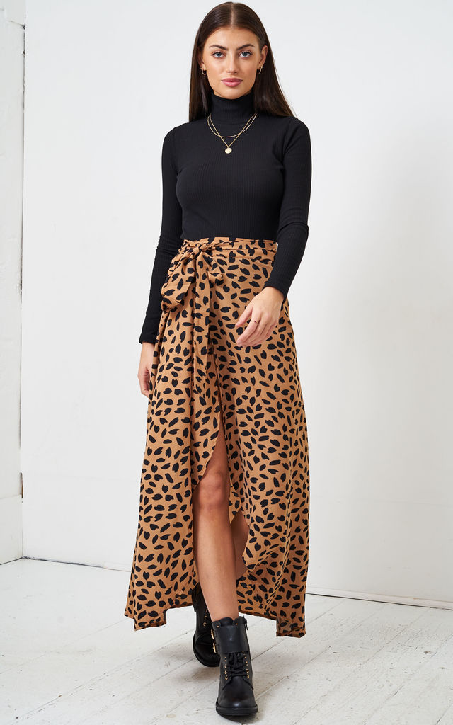 Brown Leopard Print Maxi Wrap Skirt by love frontrow