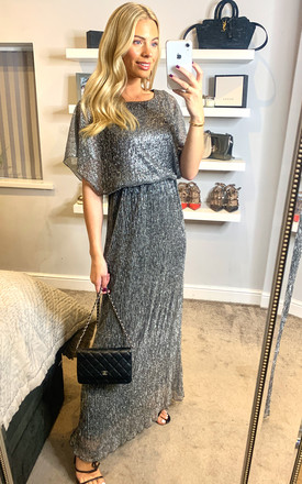Vertical Shimmer Maxi Dress Grey by Mela London