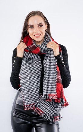 Luxury Tartan Scarf (Red/Grey) by Lucy Sparks