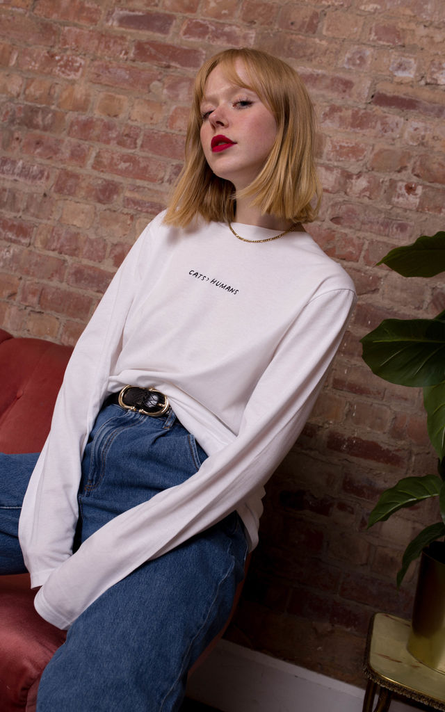 Embroidered Cats > Humans Long Sleeved Shirt in White by Rock On Ruby