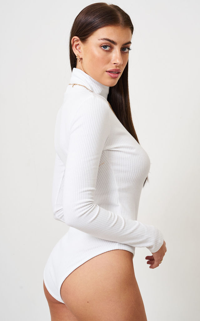 White High Neck Long Sleeve Bodysuit by love frontrow