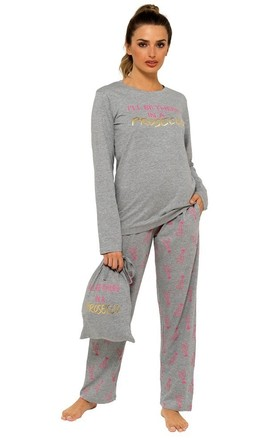 Grey 'I'll be there in a prosecco' Pj'S by Want That Trend