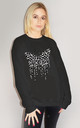 Grey Butterfly Leopard Drip Jumper In Black by Sade Farrell