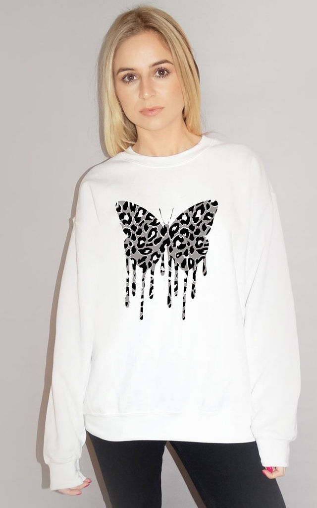 Grey Butterfly Leopard Drip Jumper In White by Sade Farrell