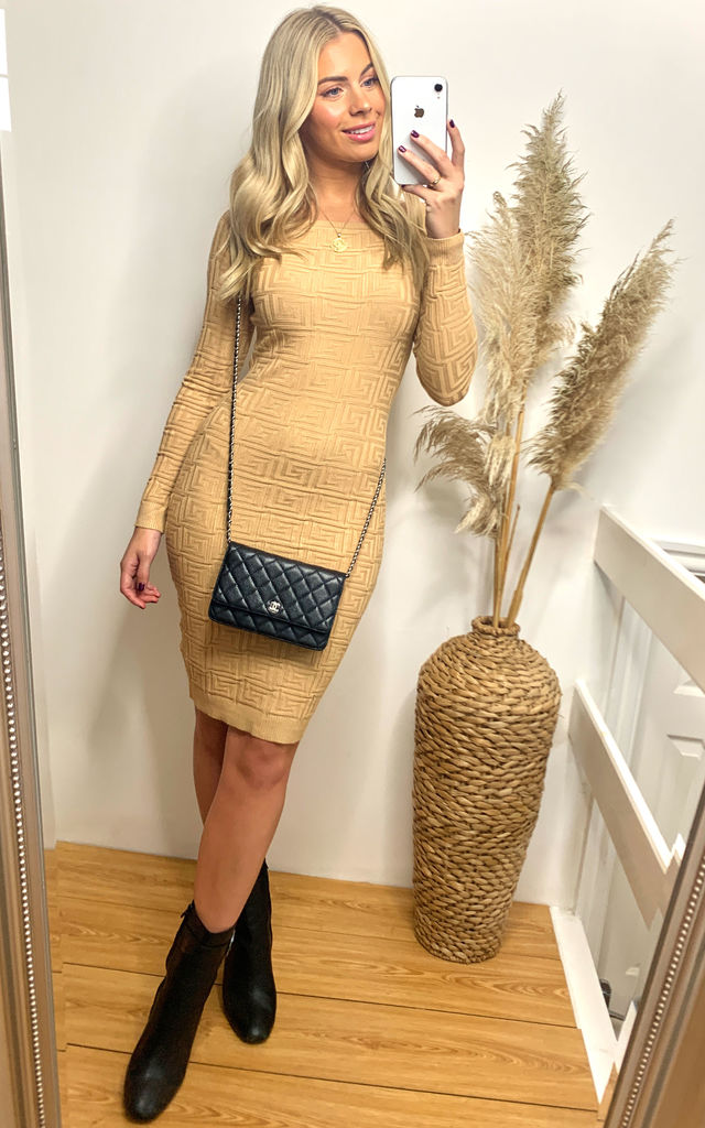 Off Shoulder Knitted Day dress in Beige by CY Boutique