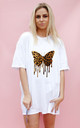 Leopard Butterfly Drip Print Oversize Tshirt In White by Sade Farrell
