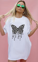 Grey Leopard Butterfly Drip Print Oversize Tshirt In White by Sade Farrell