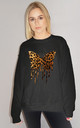 Butterfly Leopard Drip Jumper In Black by Sade Farrell