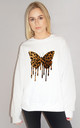 Butterfly Leopard Drip Jumper In White by Sade Farrell