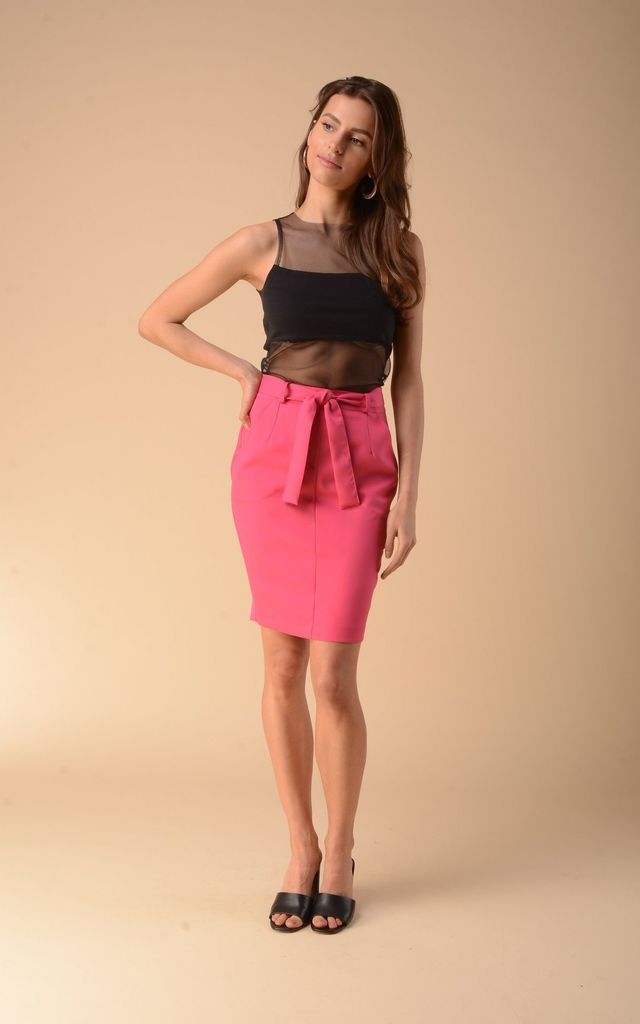 Pencil Mini Skirt in Pink by Bergamo