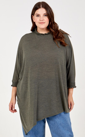 OLGA Curve Shirred Collar Asymmetric Top In Sage by Blue Vanilla