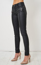 Morgan Black Wax Coated Zip Detail Jeans by love frontrow