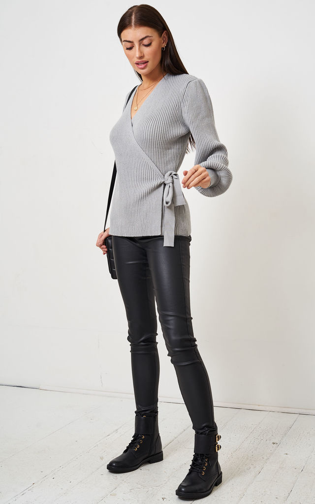 Grey Wrap Effect Jumper by love frontrow