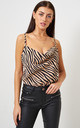 Brown Zebra Print Cowl Neck Cami Top by love frontrow