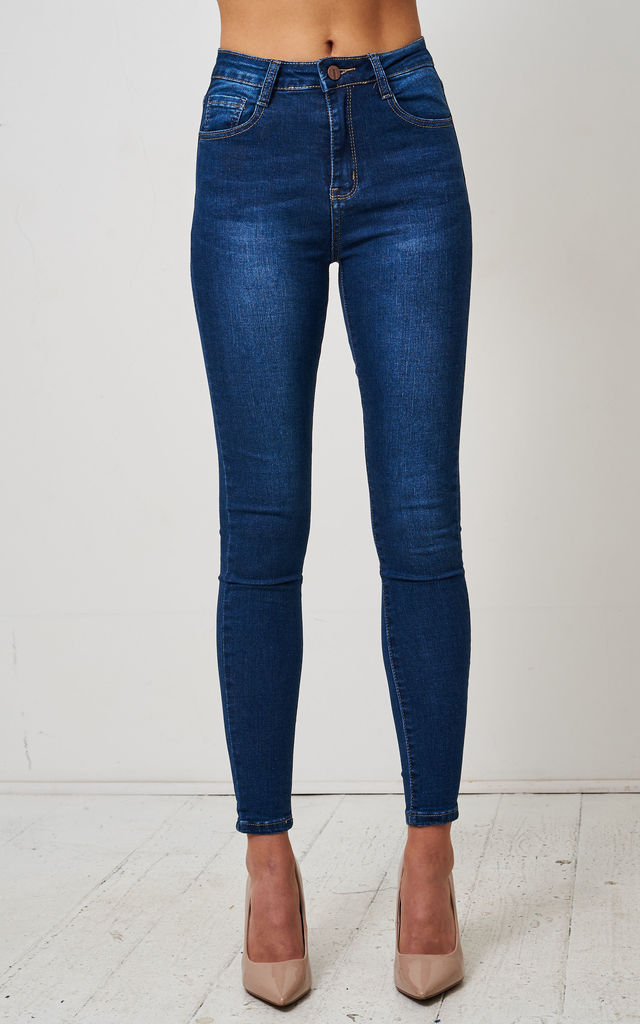 Morgan Dark Blue High Waist Skinny Jeans by love frontrow