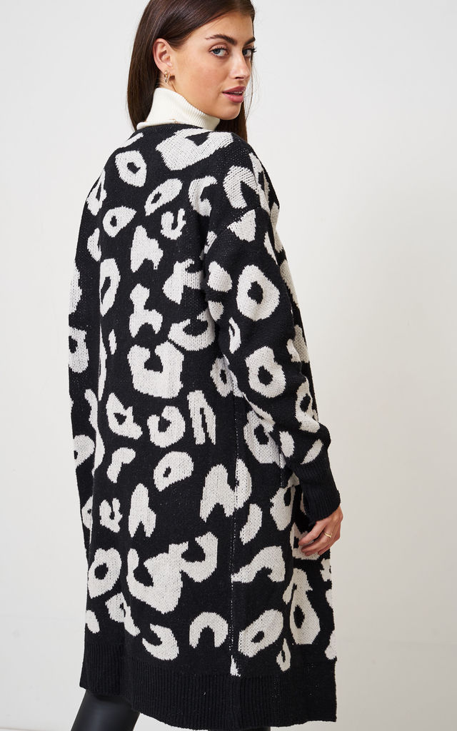 Black Leopard Print Mid Oversized Cardigan by love frontrow