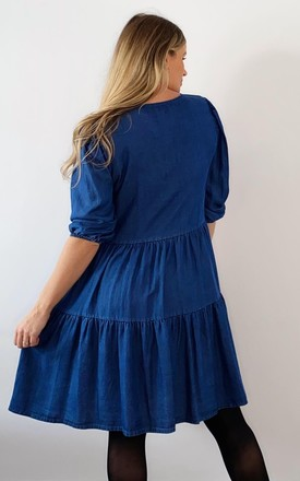 Denim Tiered Maternity Dress by Golden B Maternity