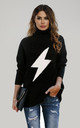 High Neck Black Jumper With White Super Bold Bolt by FS Collection