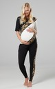 Women's Maternity Nursing Pyjama Loungewear Set Front Zips Black & Panther & Ecru 1239 by Chelsea Clark