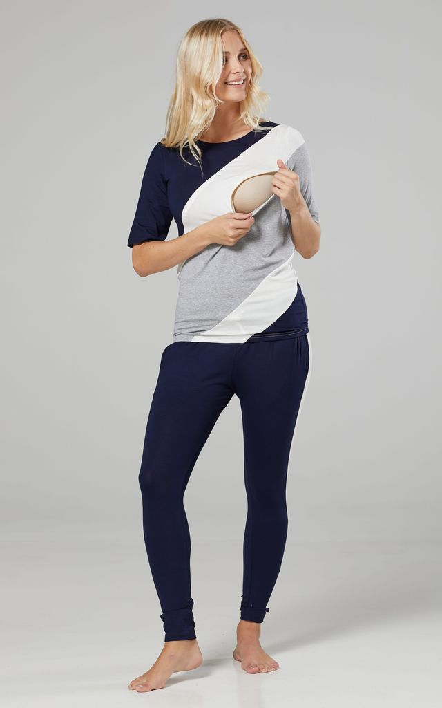 Women's Maternity Nursing Pyjama Loungewear Set Front Zips Navy & Ecru & Light Grey Melange 1239 by Chelsea Clark