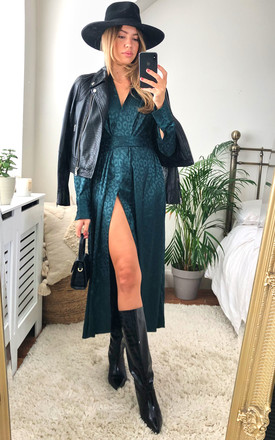 Long sleeve leopard jacquard print wrap dress with pockets  in pine green by D.Anna