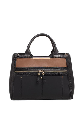 TWO TONE TOTE BAG BLACK by BESSIE LONDON