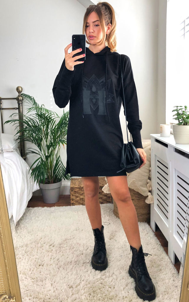 Rebirth,Passion,Pure ETHICAL Cotton Hoodie Dress- Black by House Of Lily