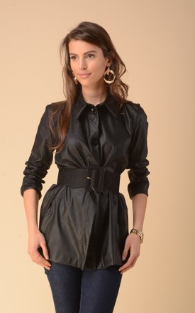 Faux Leather Shirt in Black by Bergamo