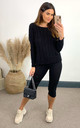 Black cable knit coord with crew neck jumper and leggings by The ModestMe Collection