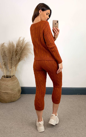 Burnt orange cable knit coord with crew neck jumper and leggings by The ModestMe Collection