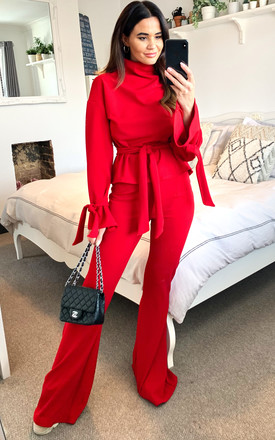 Silkfred Exclsuive: Red Lounge Set Long Sleeve Top with waist belt and Flared high waist Trousers by SHE BY SOPHIE