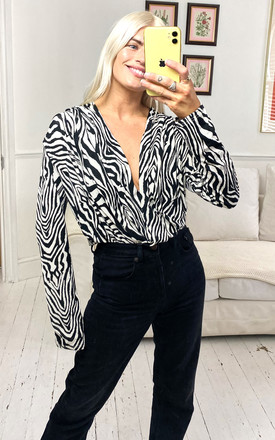 Black & White Zebra Print Bodysuit by Liquorish
