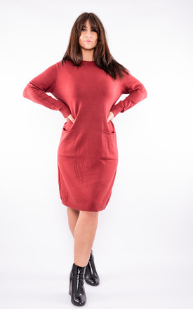 Stretch Jumper Dress With Decorative Buttons (Red) by Lucy Sparks