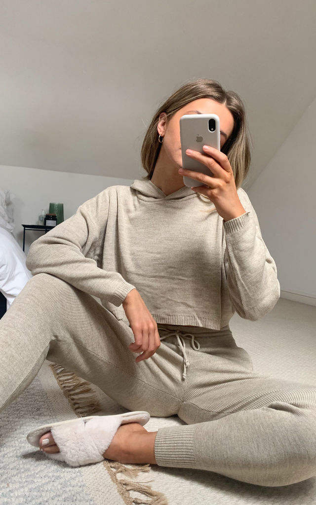 Millie Premium Hood Knit Loungewear Co-ord- Stone by SlayTwins