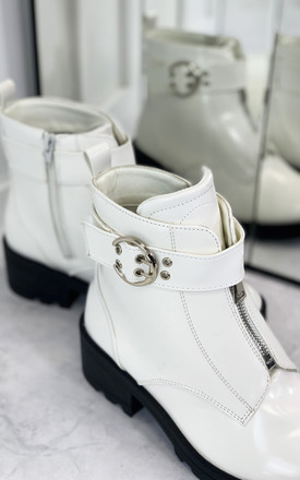 Ecstatic Front Zip Ankle Boots in White by Larena Fashion