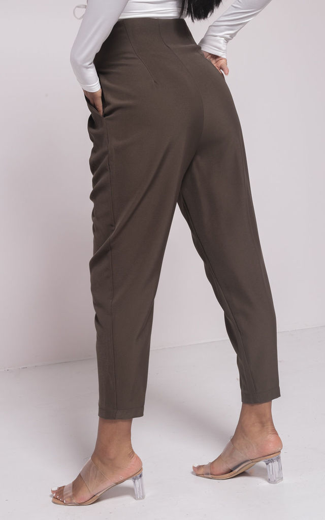 Dart Tailored High Waisted Cigarette Pants Green by LILY LULU FASHION