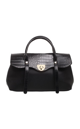 LARGE CROC PRINT FLAP OVER TOTE BLACK by BESSIE LONDON