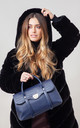 LARGE CROC PRINT FLAP OVER TOTE NAVY by BESSIE LONDON