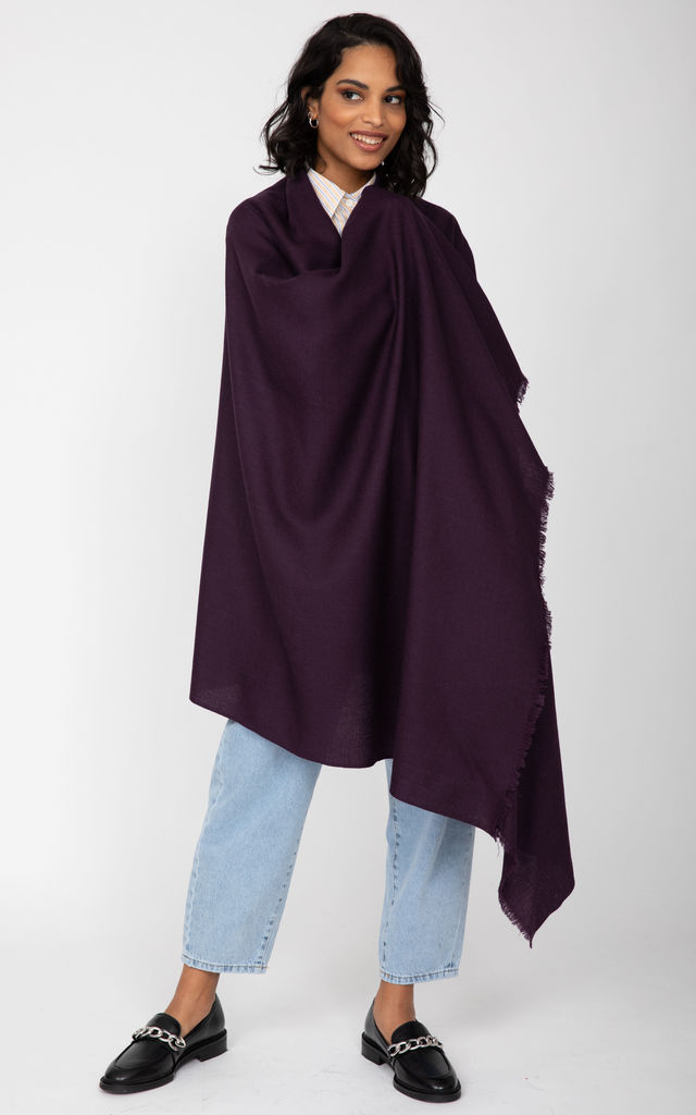 Merino Wool Pashmina Scarf & Travel Blanket in Purple by likemary