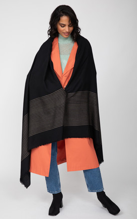 Twill Merino Handwoven Pashmina & Blanket Scarf with Stripes Black by likemary