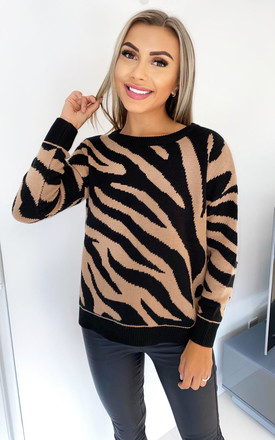 Zebra Knitted Jumper in Camel and Black by AX Paris