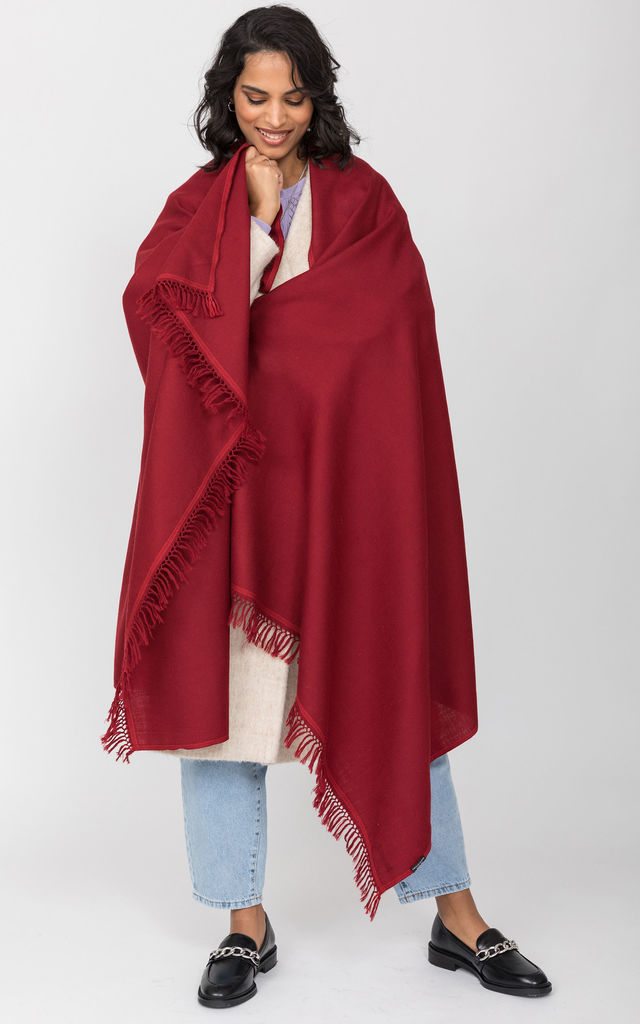 Shoreditch Merino Wool Shawl & Oversize Scarf Red 100 x 200cm by likemary