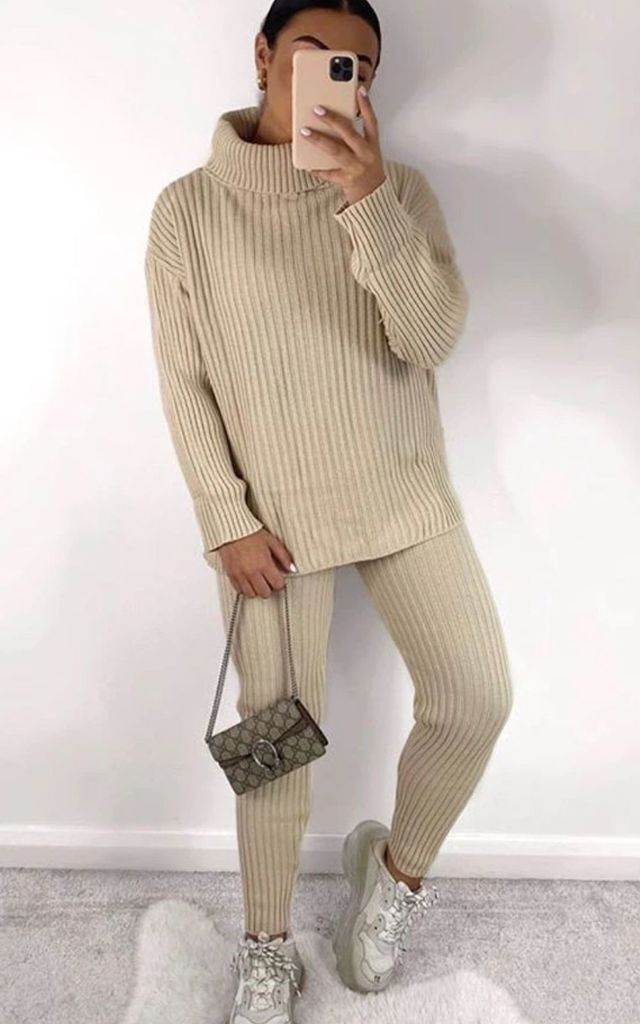 Stone Chunky Ribbed Knit Co ord Roll Neck Lounge set by GIGILAND UK
